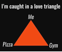 Caught in a triangle.: Im caught in a love triangle  Me  Pizza  Gym Caught in a triangle.