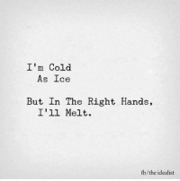 Memes, Cold, and 🤖: I'm Cold  As Ice  But In The Right Hands,  I'll Melt.  fb/the idealist <3 G*