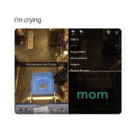 "Crying, Memes, and Http: i'm crying  37  clam.k  mom  treyysmithh  diana jaslany  reagan  10 screenshots and I'll jump  mom <p>seriously mom via /r/memes <a href=""http://ift.tt/2BrbNln"">http://ift.tt/2BrbNln</a></p>"