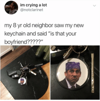 "Cars, Crying, and Life: im crying a lot  @notclarinet  my 8 yr old neighbor saw my new  keychain and said ""is that your  boyfriend?????"" I have never needed something more in my life I don't even have keys but now I'm going to buy a house and three cars just to need a keychain to put this on (tag a friend who needs this)"