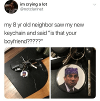 """💀: im crying a lot  @notclarinet  my 8 yr old neighbor saw my new  keychain and said """"is that your  boyfriend?????"""" 💀"""