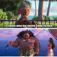 Can you smell what the rock is cooking? - @proud.disnerds Moana Disney TheRock: I'm curious about that chicken, eating The Rock.  Disnerds Can you smell what the rock is cooking? - @proud.disnerds Moana Disney TheRock