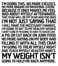 No More Excuses: IM DOING THIS, NO MORE EXCUSES.  NO MORE BINGING OR IRRATIONAL EATING  BECAUSE IT ONLY MAKES ME FEEL  BAD ABOUT MYSELF AFTERWARDS  THIS YEAR WILL BE MY YEAR AND FOR ONCE  IM NOT JUST SAYING THAT  IWILL MAKE THE NECESSARY CHANGES  IM GOING TO GET TO MY HEALTHY WEIGHT.  IDON'T CARE IF IYM GOING TO HAVE TO SWEAT LIKE  A PIG OR CUT BACK ON JUNK FOOD  NO MORE HATING ON MY BODY AND  FILLING IT WITH ALL THIS CRAP  IM GOING TO TREAT MYSELF RIGHT  AND TEACH MYSELF HEALTHY HABITS.  MY WEIGHT ISN'T  GOING TO HOLD ME BACK ANYMORE.