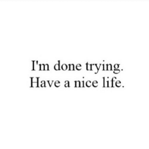 Life, Have a Nice Life, and Nice: I'm done trying  Have a nice life. https://iglovequotes.net/