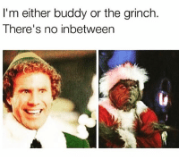 The Grinch, Memes, and 🤖: I'm either buddy or the grinch  There's no inbetween accurate (@girlsthinkimfunny)