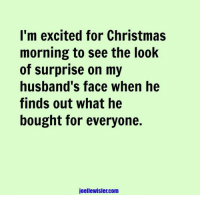 Christmas, Dank, and 🤖: I'm excited for Christmas  morning to see the look  of surprise on my  husband's face when he  finds out what he  bought for everyone.  joellewisler.com Surprise!  (via Joelle Wisler)