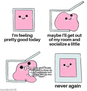 "every fucking time by valsagan MORE MEMES: I'm feeling  pretty good today  maybe l'll get out  of my room and  socialize a little  ""look who's finally  decided to show up,  did somebody turn  Coffithe WiFi by any  case?""  never again  OWLTURD.COM every fucking time by valsagan MORE MEMES"