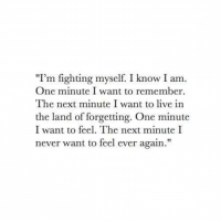 "I Know I Am: ""I'm fighting myself. I know I am.  One minute I want to remember  The next minute I want to live in  the land of forgetting. One minute  I want to feel. The next minute I  never want to feel ever again."""