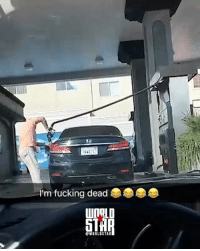 Fucking, Memes, and Worldstar: I'm fucking dead  WORLDSTAR That commentary though: Woman gets heated after driver cuts in front of her for gas 😂⛽ @worldstar WSHH