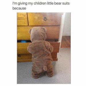 Aww, Children, and Bear: I'm giving my children little bear suits  because The teddy bear is one of the most popular toys for children, and holds a special place in many adults' hearts, too.#teddybear #funnybear #teddybearmemes #funnymemes #animalmemes #cuteanimals #aww