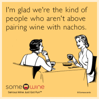 Memes, Wine, and Someecards: I'm glad we're the kind of  people who aren't above  pairing wine with nachos.  someQwine  Serious Wine Just Got FunTM  Someecards Wine goes with everything!