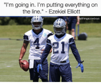 Memes, Time, and 🤖: I'm going in. I'm putting everything on  the line  Ezekiel Elliott  allthingscowboys It's about that time... 🔥🔥🔥 @ezekielelliott DallasCowboys CowboysNation ✭