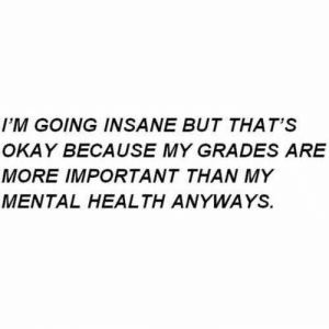 Okay, Student, and Mental Health: I'M GOING INSANE BUT THAT'S  OKAY BECAUSE MY GRADES ARE  MORE IMPORTANT THAN MY  MENTAL HEALTH ANYWAYS. If you are a student Follow @studentlifeproblems