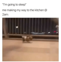 """Funny, Meh, and Sleep: """"I'm going to sleep""""  me making my way to the kitchen @  2am: Don't judge meh😅😩 VidVia @perfsayings"""