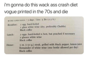 Im Gonna Do This Wack Ass Crash Diet Vogue Printed in the