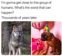 Good boy!: I'm gonna get close to this group of  humans. What's the worst that can  happen?  Thousands of years later:  1OE NOT.ZOEY Good boy!