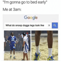 "Af, Google, and Memes: I'm gonna go to bed early""  Me at 3am:  Google  What do snoop doggs legs look like x C ME AF"
