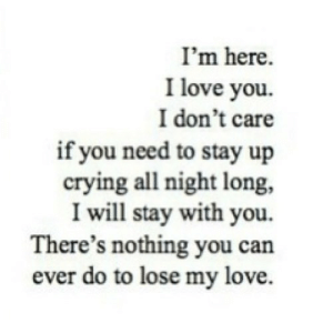 https://iglovequotes.net/: I'm here.  I love you.  I don't care  if you need to stay up  crying all night long,  I will stay with you.  There's nothing you can  ever do to lose my love. https://iglovequotes.net/