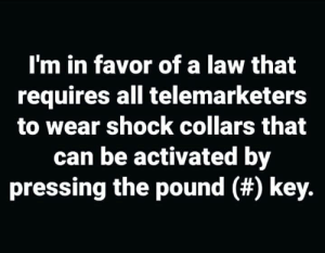 🙌🏼🙌🏼: I'm in favor of a law that  requires all telemarketers  to wear shock collars that  can be activated by  pressing the pound (#) key. 🙌🏼🙌🏼