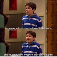 Friends, iCarly, and Love: I'm in love with you, you just wanna be friends,  BESTSCENESIG  and I'm totally cooliving with that constant pain. iCarly