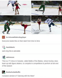 """Ironic, TV Shows, and Dash: im inlovewithahockeyplayer  Everyone needs this on their dash from time to time  hazelxfaerie  wait omg this is adorable  sabinmoon  This is a TV show in Canada, called Battle of the Blades, where hockey stars  team up with figure skaters, to compete in competitions to perform at teh end  of the season  thesherlockedboffin  Canada's version of """"Dancing with the Stars"""""""