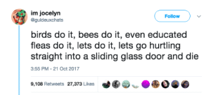 Tumblr, Work, and Birds: im jocelyrn  @guldeuxchats  Follow  birds do it, bees do it, even educated  fleas do it, lets do it, lets go hurtling  straight into a sliding glass door and die  3:55 PM- 21 Oct 2017  9,108 Retweets 27,373 Likes  づ围  ● copperbadge: I laughed suddenly and loudly in my cubicle at work.