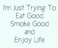 Life, Memes, and Good: Im Just Trying To  Eat Good  Smoke Good  and  Enjoy Life