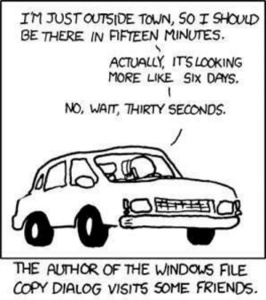 xkcd: IM JUSTOUTSIDE TOWN, SO I SHOULD  BE THERE IN FIFTEEN MINUTES  ACTUALLY ITSLOOKING  MORE LIKE SIx DAYS  NO, WAIT, THIRTY SECONDS  THE AUTHOR OF THE WINDOUS FILE  COPY DIALOG VISITS SOME FRIENDS xkcd