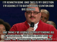 Rick Harrison attends the debate: I'M KENNETH BONE. AND THIS IS MY OUESTION  IM ASKING IT TO BOTH HILLARY CLINTON AND  BIG DONALD  ONE THING I'VELEARNED AFTER ATTENDING ALL  PBS  THESE DEBATES YOU NEVER KNOW HOW OFF  DebTOPICTHE CANDIDATES ARE GOING TO GET Rick Harrison attends the debate