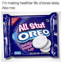 Life, Memes, and 🤖: I'm making healthier life choices lately.  Also me:  RTFCALLY  All Stuf  OREO  ust the  SEALED  OD DSS  R NEW 107 02 8303g I need these in my life @trapgodbart