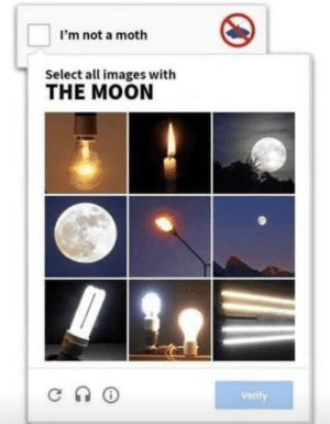 me💡irl: I'm not a moth  Select all images with  THE MOON  Verif me💡irl