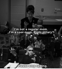 "Cool, Http, and Image: I'm not a regular mom  I'm a cool-mom. Right Hillary?:  Please stop talking. <p>Original image by <a href=""http://www.time.com/time/magazine/article/0,9171,2097970,00.html"">Diana Walker for Time</a>.</p>"