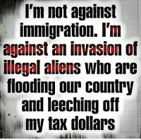 Memes, 🤖, and Invasion: I'm not against  immigration. I'm  against an invasion of  illegal aliens who are  flooding our country  and leeching off  A my tax dollars Damn Straight #NoAmnesty #SecureTheBorders #AmericaFirst facebook.com/exposethetruthtoday