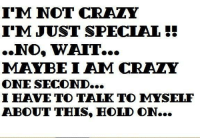 im not crazy: I'M NOT CRAZY  I'M JUST SPECIAL  NO, WAIT...  MAYBE I AIM CRAZY  ONE SECOND...  I HAVE TO TALK TO MYSELF  ABOUT THIS, HOLD ON...