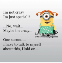 im not crazy: Im not crazy  Im just special!!  No, wait...  Maybe im crazy...  Love & Ska  www.loveandsayings.com  One second...  I have to talk to myself  about this, Hold on