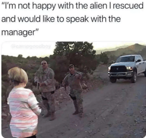 """Figures: """"I'm not happy with the alien I rescued  and would like to speak with the  manager""""  campgobay Figures"""