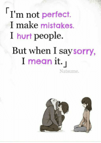 perfect: I'm not perfect.  I make mistakes.  I hurt people.  But when I say  sorry,  I mean it.  Natsume.