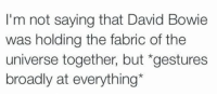 I'm not saying that David Bowie  was holding the fabric of the  universe together, but gestures  broadly at everything