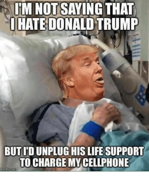 Im Not Saying: IM NOT SAYING THAT  OHATE DONALD TRUMP  BUT ID UNPLUG HIS LIFE SUPPORT  TO CHARGE MY CELLPHONE  imrlip.com