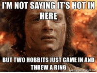 Memes, 🤖, and Net: I'M NOT SAYINGIT'S HOTIN  HERE  BUT Two HOBBITS JUST CAME IN AND  THREW A RING  enregenerator.net