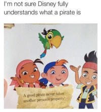 Disney, Good, and Girl Memes: I'm not sure Disney fully  understands what a pirate is  A good pirate never takes  another person's property 😂😂🤣😂