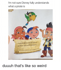 Disney, Weird, and Good: I'm not sure Disney fully understands  what a pirate is  A good pirate never takes  another person's property  duuuh that's like so weird Disney really has screwed up. Badly.