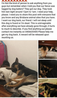 Memes, Animal, and Help: I'm Not the kind of person to ask anything from you  guys but remember when I told you that our fence was  tagged by dog baiters? They got our dog. They took  him last night around 12pm to 1am. I need your help,  please. I need you to share this post with everyone that  you know and any Brisbane animal sites that you have.  I want our dog back, our friend. I will not sleep until  this dog is found or l'm dead. This is unimaginable  after everything we have already gone through, It hurts  to much to describe. If you find anything out please  contact me instantly on 0406635405 Please help me  get my dog back. A reward will be released upon  reuniting us Missing Redcliffe Qld area.
