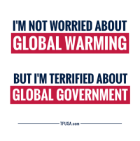 Global Warming, Memes, and Government: I'M NOT WORRIED ABOUT  GLOBAL WARMING  BUT I'M TERRIFIED ABOUT  GLOBAL GOVERNMENT  TPUSA.com EXACTLY! #BigGovSucks