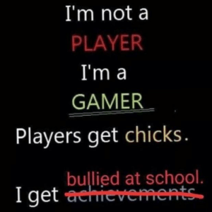 Dank, Meme, and Memes: I'm nota  PLAYER  I'm a  GAMER  Players get chicks  bullied at school.  I get classic meme gang by gadanxx MORE MEMES