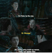 Memes, Spider, and SpiderMan: I'm Peter, by the way.  IGI @avenjerks.ossemble  Dr. Strange  Oh, youre using made-up names  Then,I am Spider-Man (Andrew Gifford)