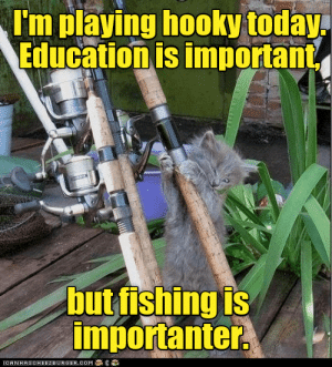 Importanter: I'm playing hooky today  Education is important  but fishing is  importanter  IORNHASOHEEZEURGER.OOM