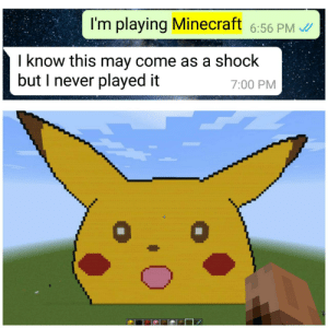 Minecraft, Never, and One: I'm playing Minecraft 6:56 PM  l know this may come as a shock  but I never played it  ee s  7:00 PM Talking with a friend one day when