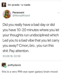 Bad, Bad Day, and Mood: im-prada--u-nada  Paracosm  @WompWizard  Did you really have a bad day or did  you have 10-20 minutes where you let  your thoughts run undisciplined which  Led you to a bad vibe that you let carry  you away? Cmon, bro.. you run this  shit. Pay attention  03.08.18, 02:59  pettydavis  this is a very fifth eye open galaxy brain mood You run this!