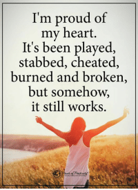 It Still Works: I'm proud of  my heart.  It's been played,  stabbed, cheated,  burned and broken  but somehow,  it still works.